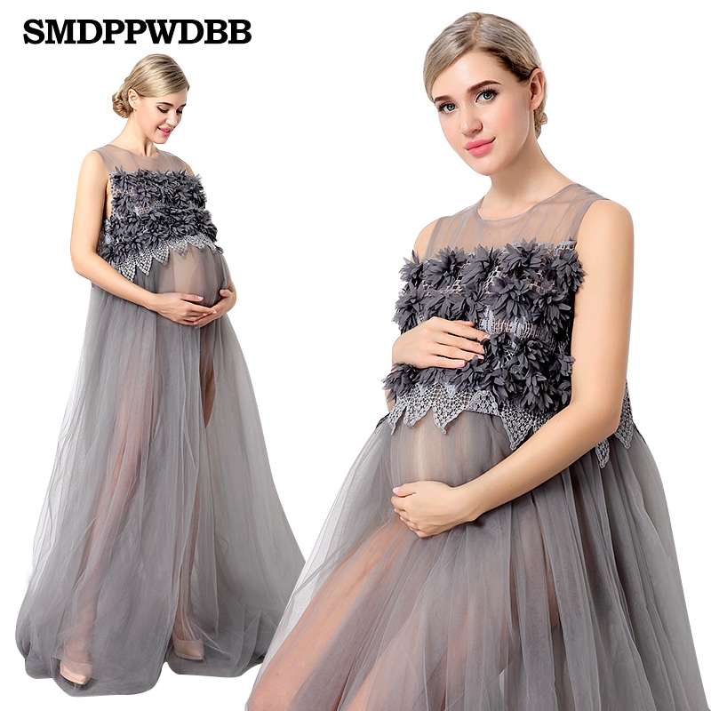 New Maternity Photography Props Voile Maternity Dresses Off Shoulders Pregnant Women Long Dresses Pregnancy Photo Shoot