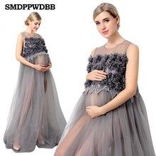 Új Maternity Photography Props Voile anyasági ruhák off vállak Terhes nők hosszú ruhák Terhesség Photo Shoot