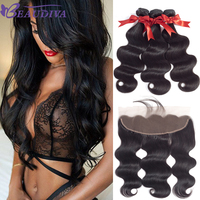Beaudiva Brazilian Hair Weave Bundles Body Wave Human Hair Bundles With Closure 3 Bundles With Frontal 13x4 Closure Deals