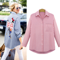 New 2015 Spring Summer Casual Button Down Lapel Neck Shirts Women Cartoon Pattern Striped Long Sleeve