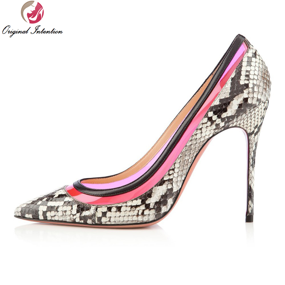 Original Intention New Popular Women Pumps Elegant Pointed Toe Thin High Heels Pumps Printing Leather Shoes Woman Plus Size bowknot pointed toe women pumps flock leather woman thin high heels wedding shoes 2017 new fashion shoes plus size 41 42