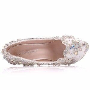 Image 4 - クリスタル女王の結婚式の靴の花嫁のかかとクリスタルパンプス日イブニングパーティー高級 14 センチメートル平方ヒールプラスサイズ白青 ABcolor