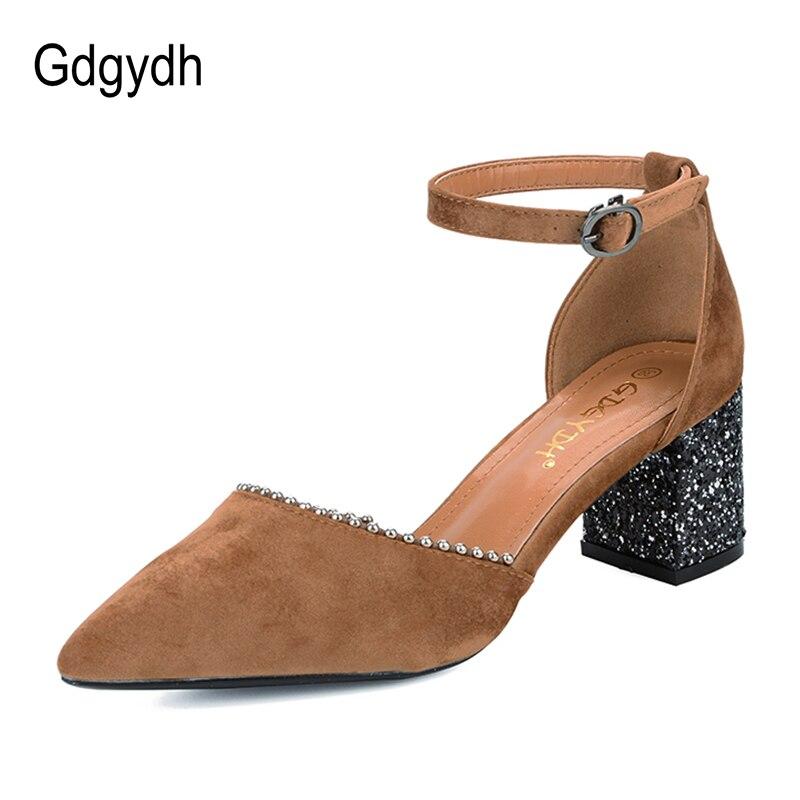 Gdgydh špičaté toe Crystal ženy Sandály náměstí podpatky - Dámské boty