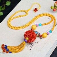 Тонкие желтые Натуральный камень Цепочки и ожерелья жареный синий и красный цвета мяч кисточкой кулон лаки для Для женщин девушка свитер це