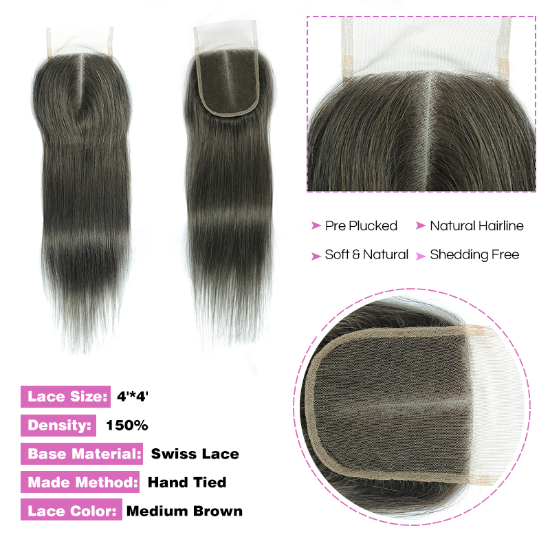 Lilen Grey Bundles With Closure Brazilian Hair Weave 3 Gray Brown Bundles With Closure Straight Hair Pinshair Human Hair Nonremy