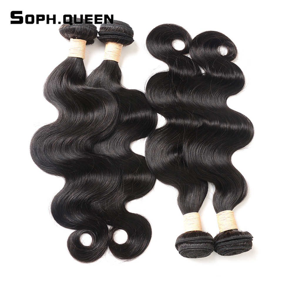 Soph Queen Hair Body Wave Indian Hair Bundles Double Machine Weft 100% Remy Human Hair Bundles Can Buy With Closure 8-26inches