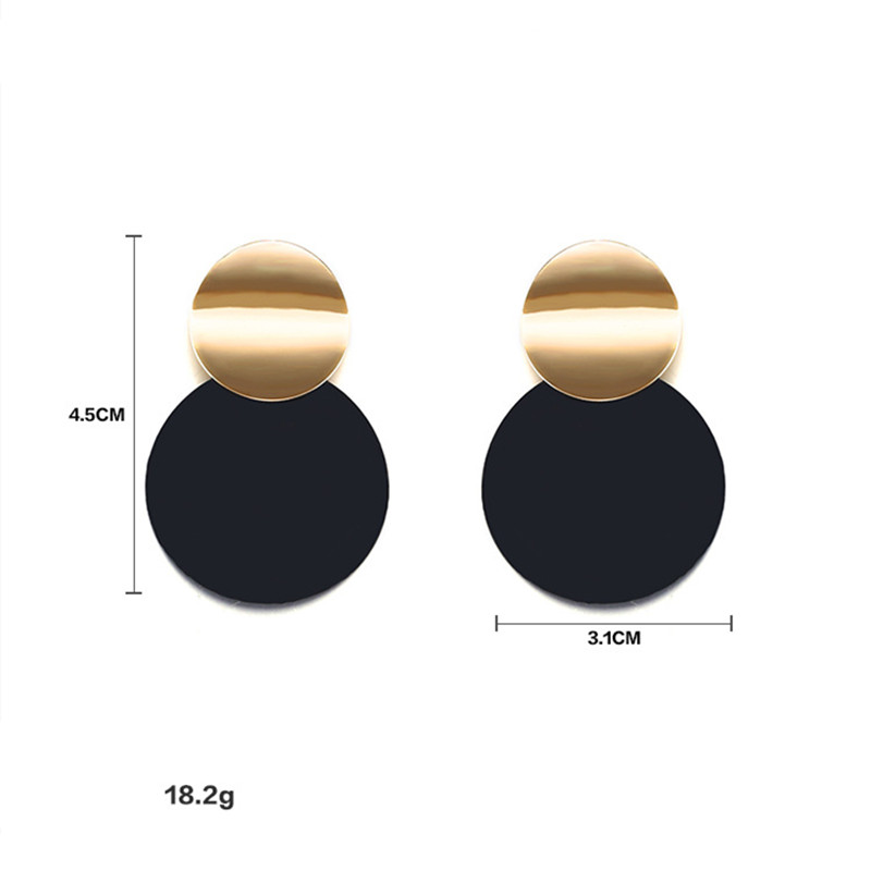 HTB129b8iZLJ8KJjy0Fnq6AFDpXau - Unique Black Stud Earrings Trendy Gold Color Round Metal Statement Earrings for Women New Arrival wing yuk tak Fashion Jewelry