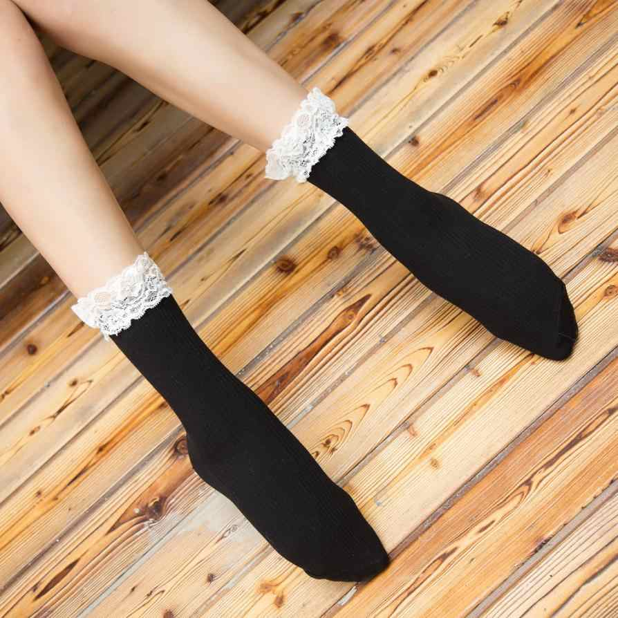 Новинка 2017 года; оригинальные носки с кружевом; женские длинные носки для зимы; chaussettes femme; кружевные вязаные носки; Бесплатная доставка