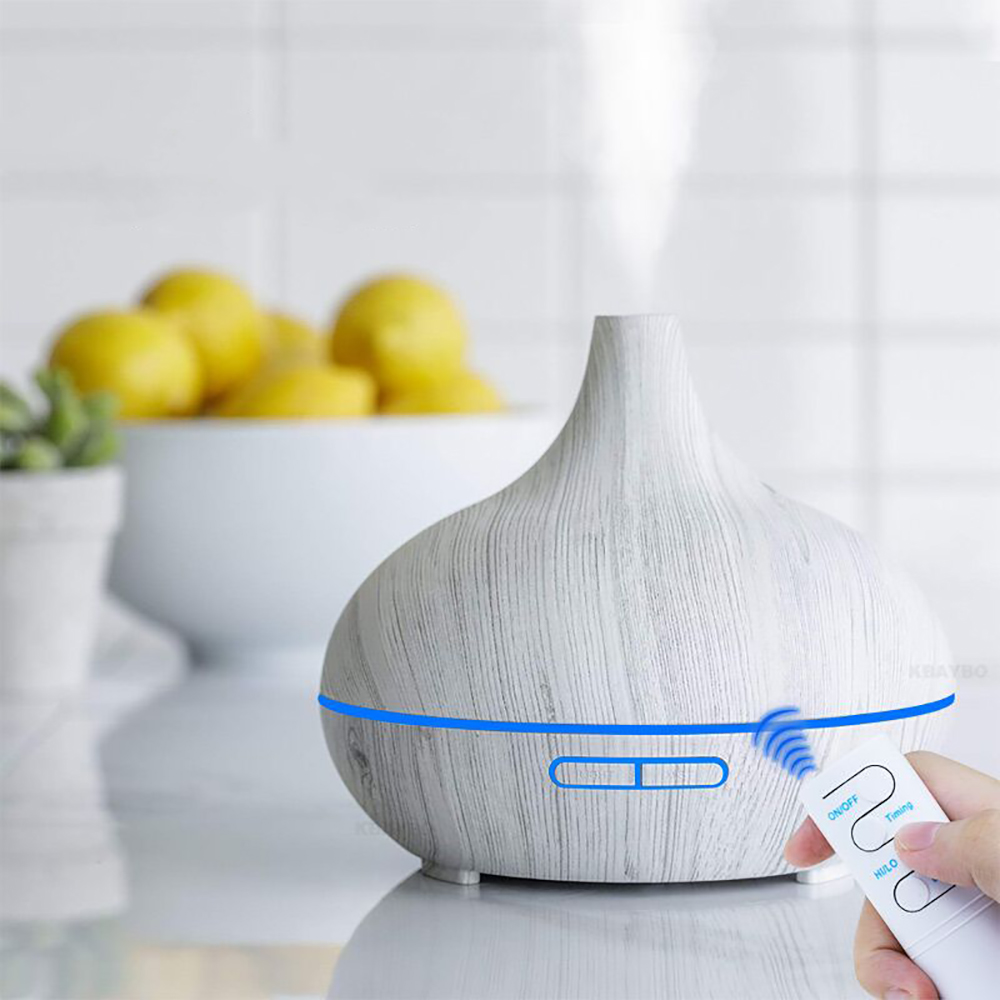 550ml Remote Control Ultrasonic Electric Air Humidifier Aroma Oil Diffuser White Wood Grain 7 Colors LED Lights For Home