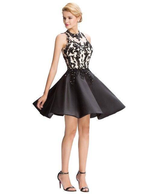 Black Prom Dress Under $50 Robe De Bal Courte High Neck Beaded Dress ...