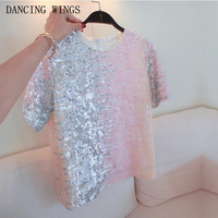 Women Sequin T Shirt 2018 Hot Sale Summer Short Sleeves Tops Gradient Color Sequins Female Loose Tees T Shirt Pink