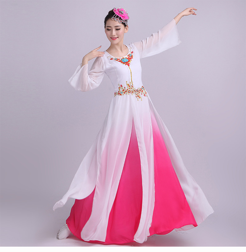 Ancient Traditional hot pink white blue gradient Embroidery Women Chinese Folk Dance dresses ...