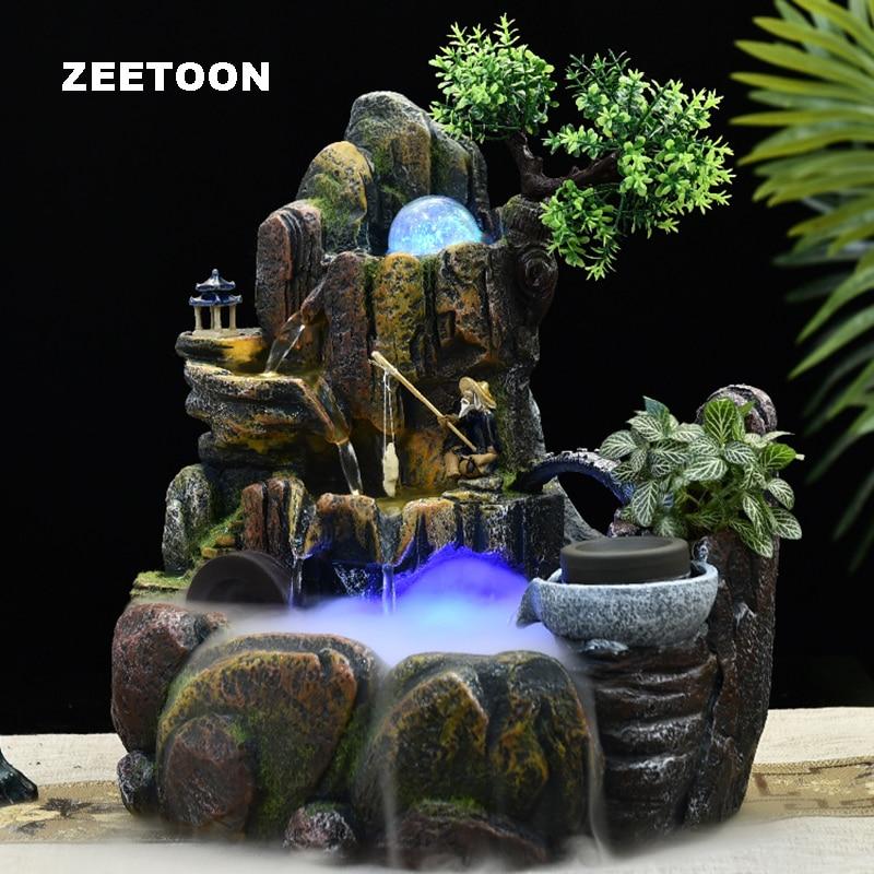 110v 220v Resin Rockery Water Fountain Feng Shui Decoracion Bonsai Humidifier Home Decor Desk Waterflow Landscape Ornament Gifts Figurines Miniatures Aliexpress