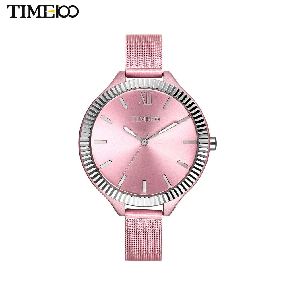 TIME100 Elegance Women's Quartz Watch Analog Pink Steel Mesh Strap Ultra Thin Big Case Waterproof Women Clock Bracelet Watches snoopy quartz watch pink