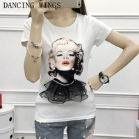 Novelty Character Print White T Shirt Summer Short Sleeve O Neck Tees Ladies Loose Tops Camisetas