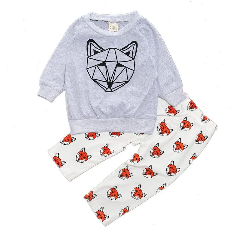 New 2017 Baby Summer Boy Girls Clothes Cotton Long Sleeved Fox T-shirt+Pants Cartoon Infant Clothes 2pcs Newborn Toddler Suit