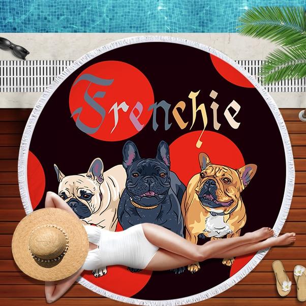 Buldog okrągły ręcznik plażowy z nadrukiem z psem ręczniki plażowe Serviette De Plage duży ręcznik z mikrofibry 150cm kąpiel Toalla dla dzieci