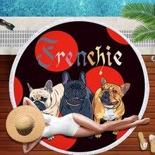 Bulldog Round Beach Towel dog printed Beach Towels Serviette De Plage Large Towel Cartoon Microfiber 150cm Bath Toalla for Kids