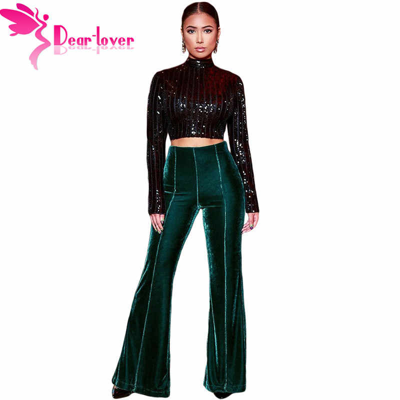 d9b63710 Dear Lover New Fashion Flare Trousers Retro Vintage Velvet Pants Green Women  Wide Leg Slim Pants