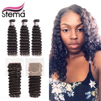 Stema Brazilian Deep Wave Human Hair Bundles With Closure 3PCS Hair Weft With 4x4 Lace Closure Remy Hair Extension Free Shipping