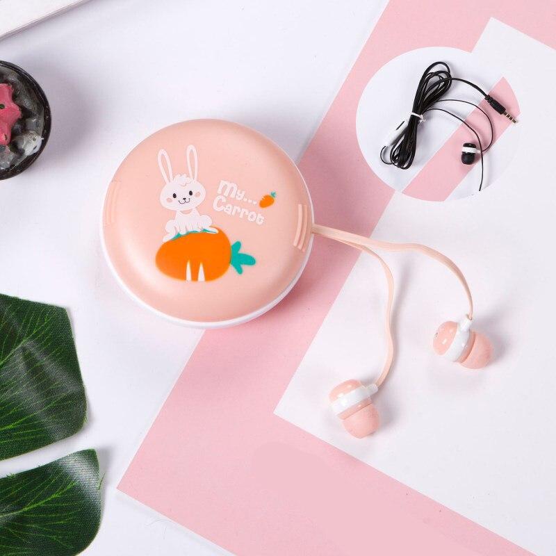 3.5mm Earphones Stereo Music earphone Mic MP3 MP4 Phones Cartoon Rabbit With Storage Box In-ear Earphones Cute Candy Hot Sale