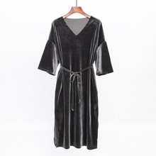 Free Shipping 2018 New Fashion Long V-neck Dress Summer Velvet Dress Plus Size S-5XL Women Black And Blue Dresses With Belt free shipping classical wrapped v belt b2769 b2794 b2819 b2845 b2870 li industry black rubber b type vee v belt