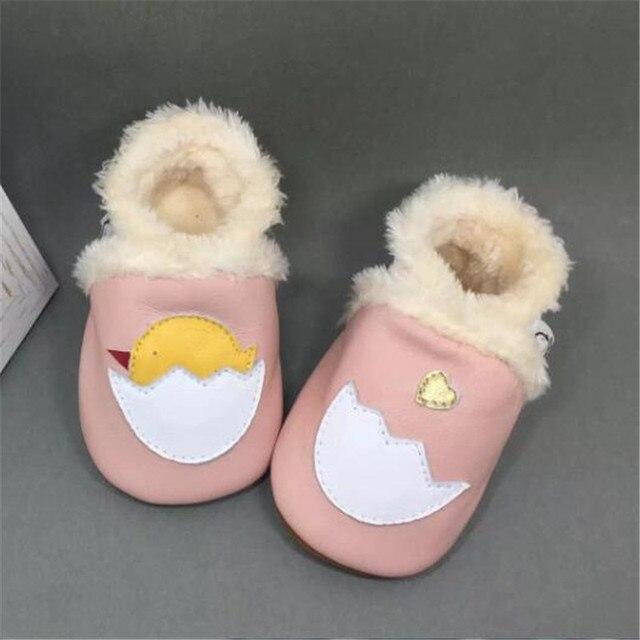 100% Натуральная Кожа Зимние Ботинки Младенца Мягкое Дно Согреться Малышей Тапочки Девочка Обувь sapatos menina chaussure филь