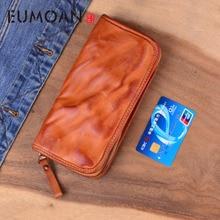 EUMOAN Genuine Leather Long Wallet Clutch Bag Men Zipper Brand Designer Vintage Handmade Vegetable Tanned Cowhide Wallets