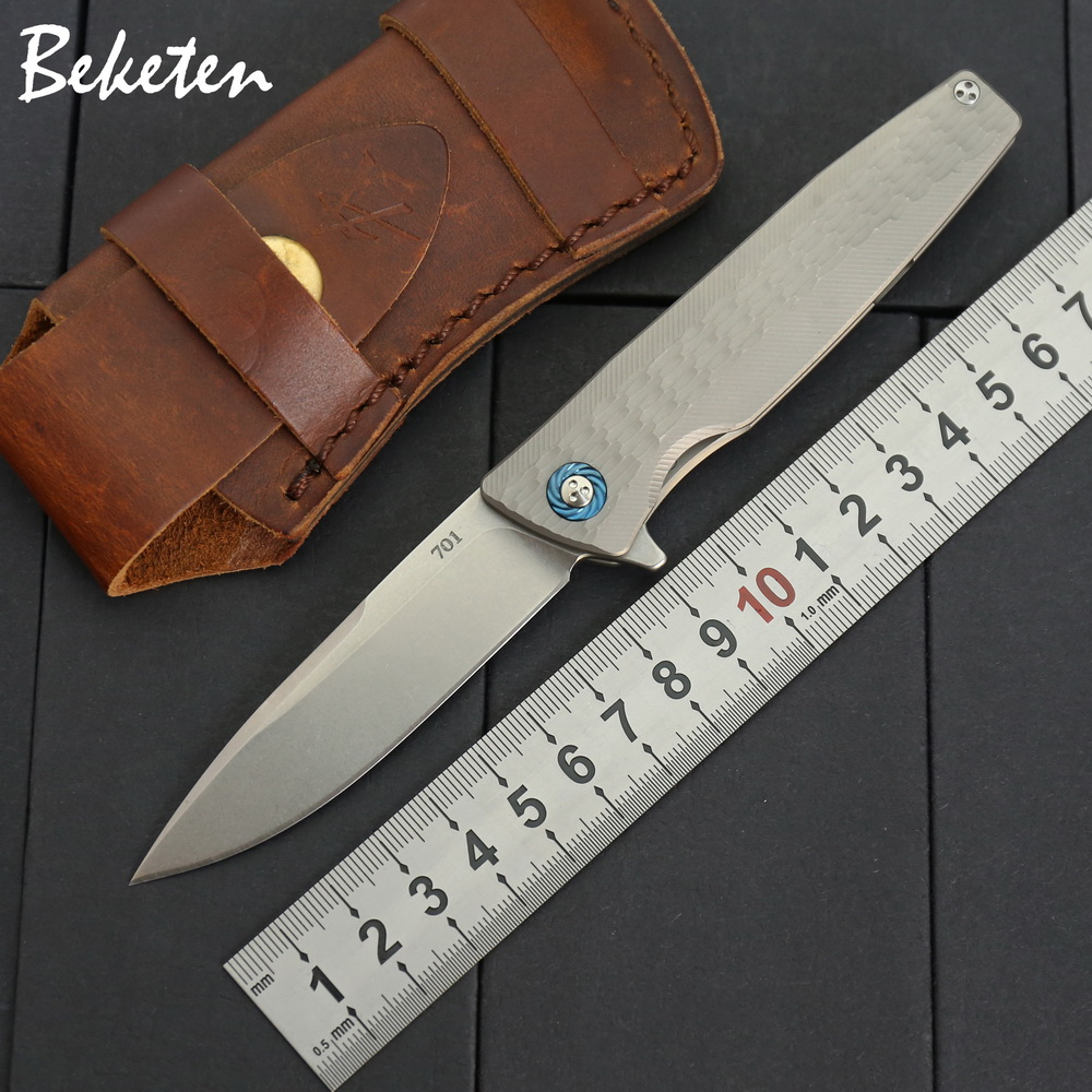 BEKETEN 701 Flipper folding knife S35VN blade titanium handle outdoor camping hunting knife camp tactical pocket