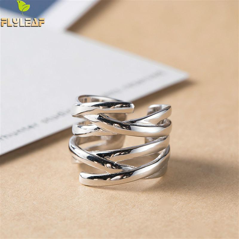 Flyleaf 925 Sterling Silver Multi-layer Winding Braided Open Ring For Women Simple Fashion Fine Jewelry Femme