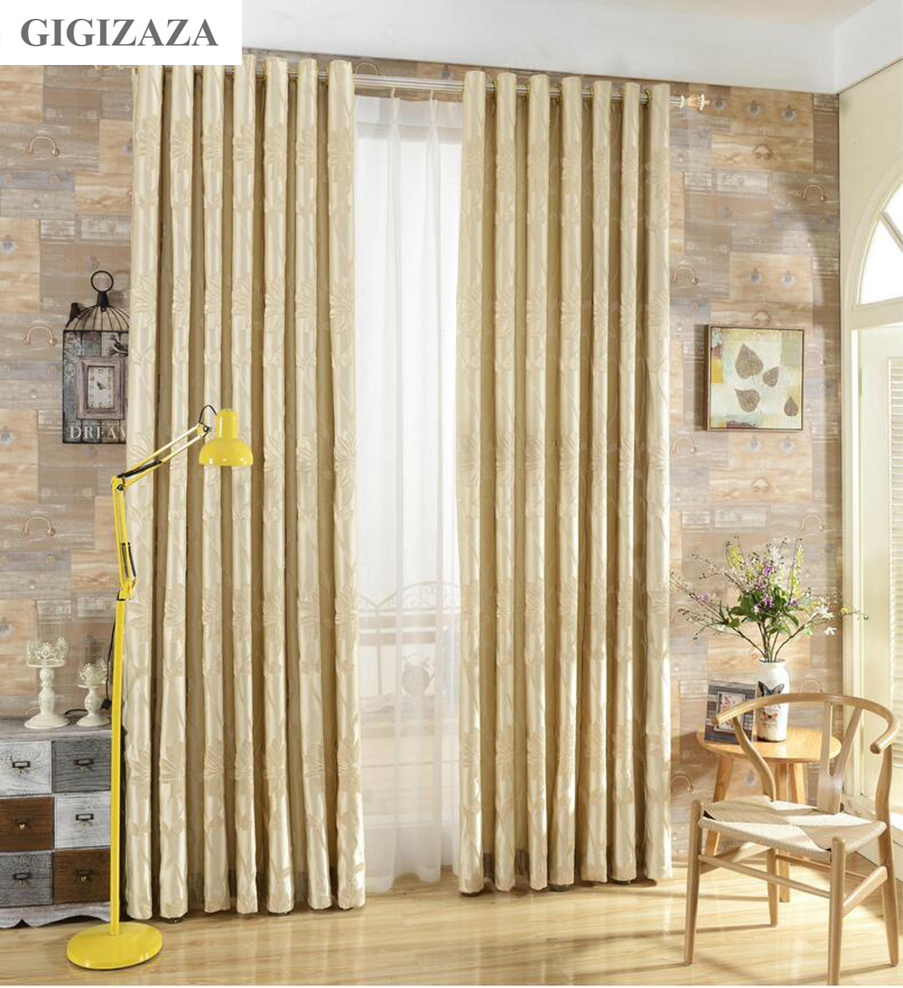 Silk flower Jacquard window curtains for livingroom GIGIZAZA floral 3D wire emboss black out ivory custom