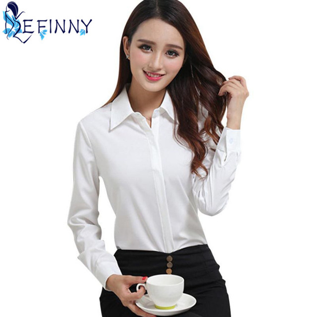 2692e656ddf93 BEST Selling Female Business Shirt Classic Women Formal Full Sleeve Solid  Turn-down Collar Slim Blouse