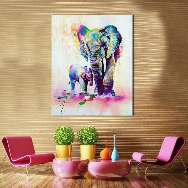 Online Shop JQHYART As A Mother And Baby Elephant Oil Painting ...