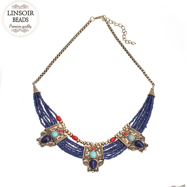 LINSOIR 2017 Bohemia Multilayer Statement Seed Beads Necklace Women Gold Plated Chain Turquoise Necklace Collier Femme F10002
