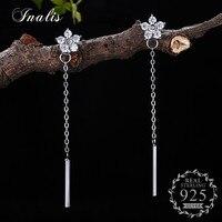 INALIS 925 Sterling Silver Long Chain Design Drop Earrings Flower Zircon For Women Lady Elegant Simple
