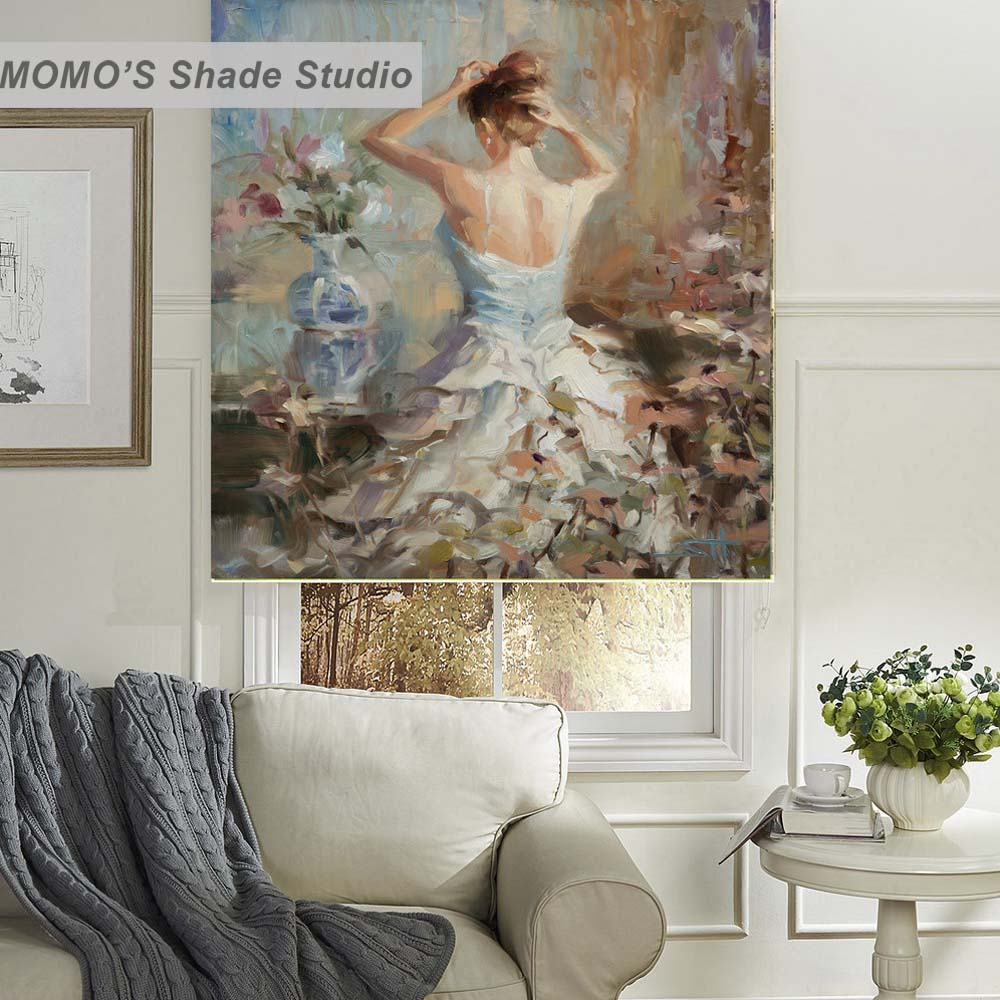 MOMO Painting Blackout Window Curtains Roller Shades Blinds Thermal Insulated Fabric Custom Size,PRB Set619-622