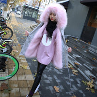 Women Large Collar Faux Fox Fur Coat 17M3