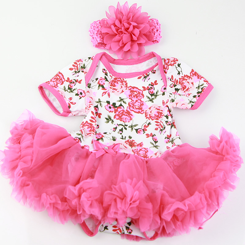 New Design 22 Inch Reborn Doll Clothes Rose Flowers Dress