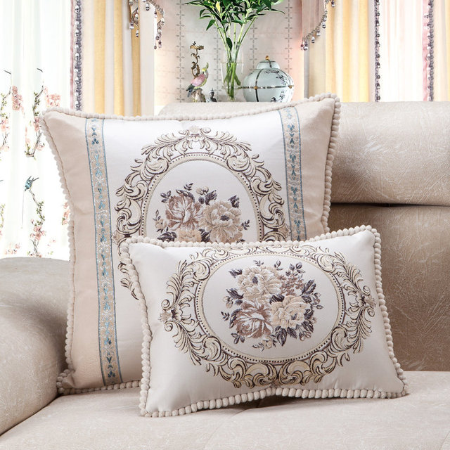 Floral Beige Sofa Cushion Cover
