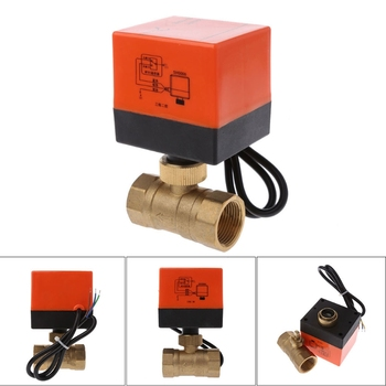 AC 220V 2 Way 3 Wire Electric Motorized Brass Ball Valve DN15 G1/2/DN20 G3/4/DN25 G1 Actuator Brass Valve Controller ac220v dn15 dn20 dn25 2 way 3 wires brass motorized ball valve electric actuato with manual switch 101415