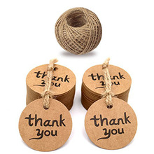 100pcs brown round thank you tags for wedding party decoration Packaging Hang paper Tags stationery