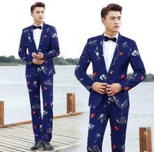 Chorus wedding suits men blazer boys prom mariage mens printing clothes fashion slim masculino latest coat pant designs