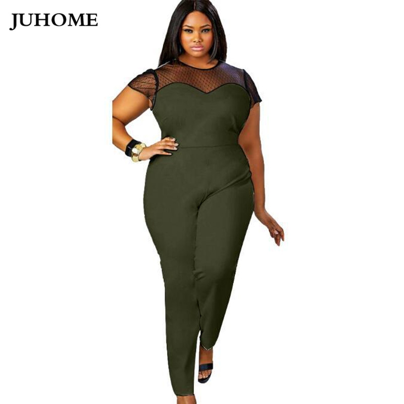 4XL 3XL plus size Women Slim LONG Jumpsuits 2018 New Summer short sleeve Romper Female Sexy Club green Overalls Macacao Feminino