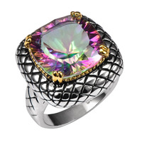 Huge Rose Rainbow Crystal Zircon 925 Sterling Silver Ring Factory Price For Women and Men Size 6 7 8 9 10 11 F1514