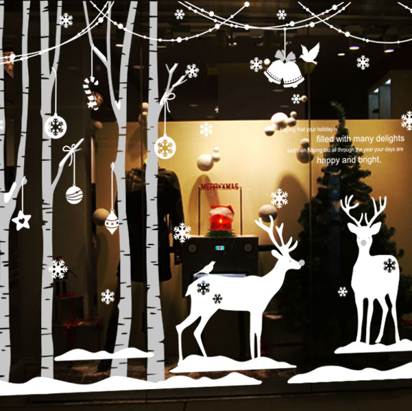 Christmas vinyl wall decal forest winter deer tree art for Christmas wall mural plastic