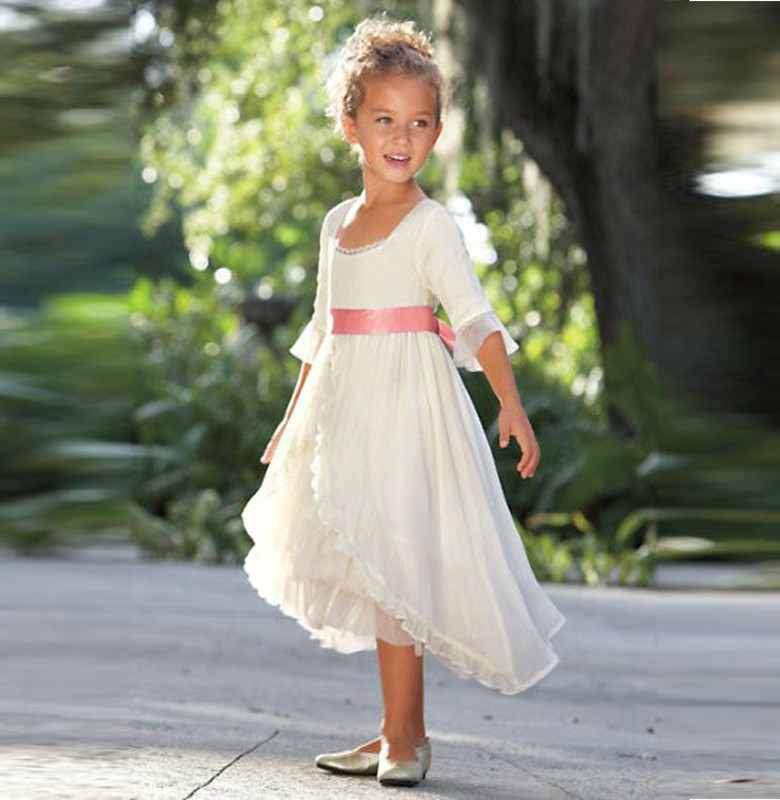 customised sash color pretty country flower girl dresses front short long back blush little flower girl dress for beach wedding