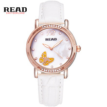 LEER Nuevas señoras de la manera reloj de las mujeres de cuero blanco relojes de cuarzo 21494