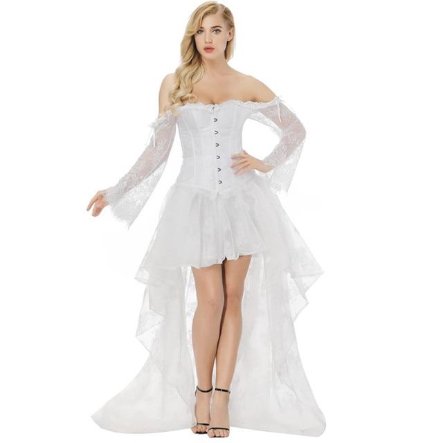 a83997e5eef Women s Vintage Steampunk Long Lace Sleeve Bridal Corset Dress Victorian  Retro Gothic White Corset Top Wedding Party Dress S-2XL
