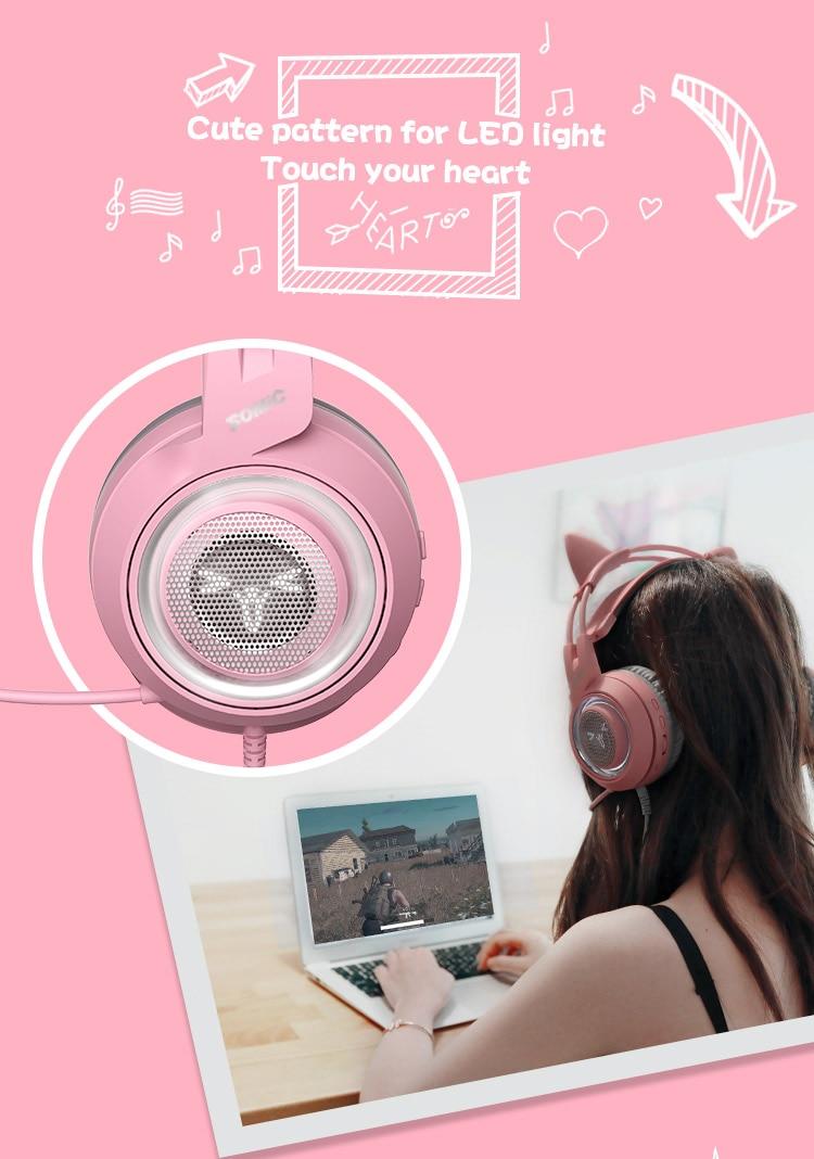 Somic g951 rosa usb wired gaming headphone