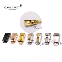 CARLYWET 16m X 9mm Brush Polish Stainless Steel Watch Band Buckle Deployment Clasp Steel For Bracelet